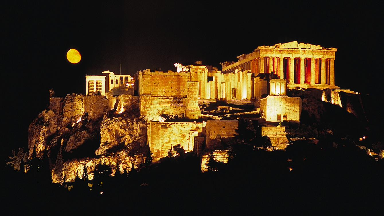 Moonrise Behind the Acropolis, Athens, G