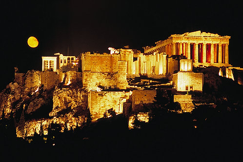 Moonrise Behind the Acropolis, Athens, Greece
