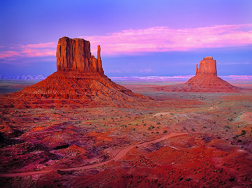 Alpenglow on the Mittens, Monument Valley