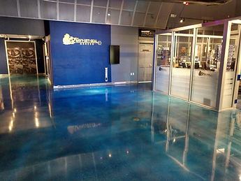 POLISHED CONCRETE FLORIDA, NAVY SEAL MUSEUM, BLUE FLOORS,
