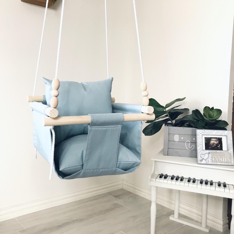 Thumbnail: Light Blue Regular Back Baby Swing