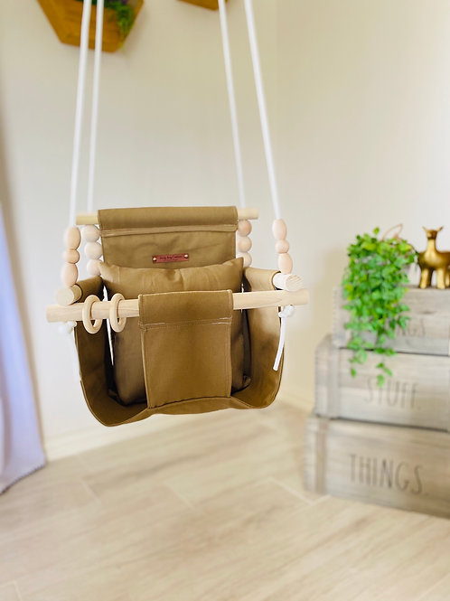 Light Brown High Back Baby Swing