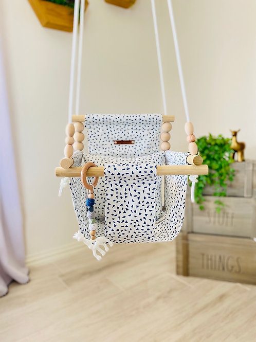 White and Navy Blue High back Baby Swing