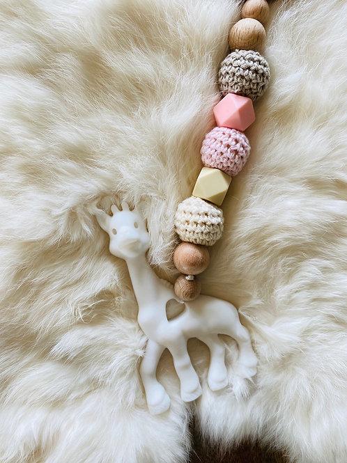 Giraffe Hanging Toy/Teether Pink