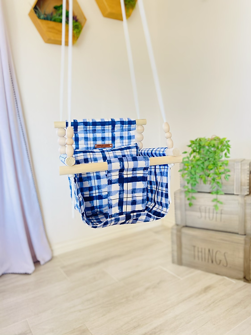 Blue and White High Back Baby Swing
