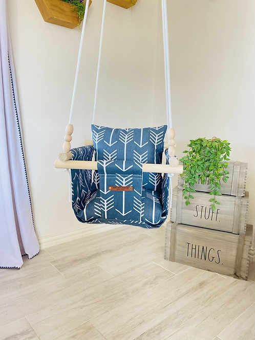 Blue and White Arrows Regular Back Baby Swing