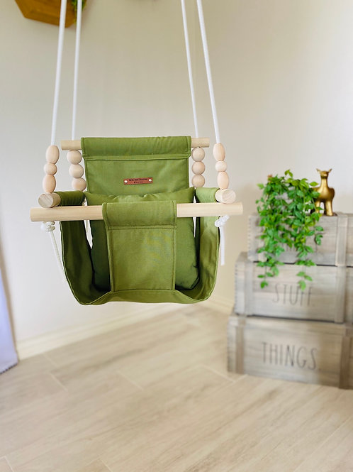 Olive Green High back Baby Swing