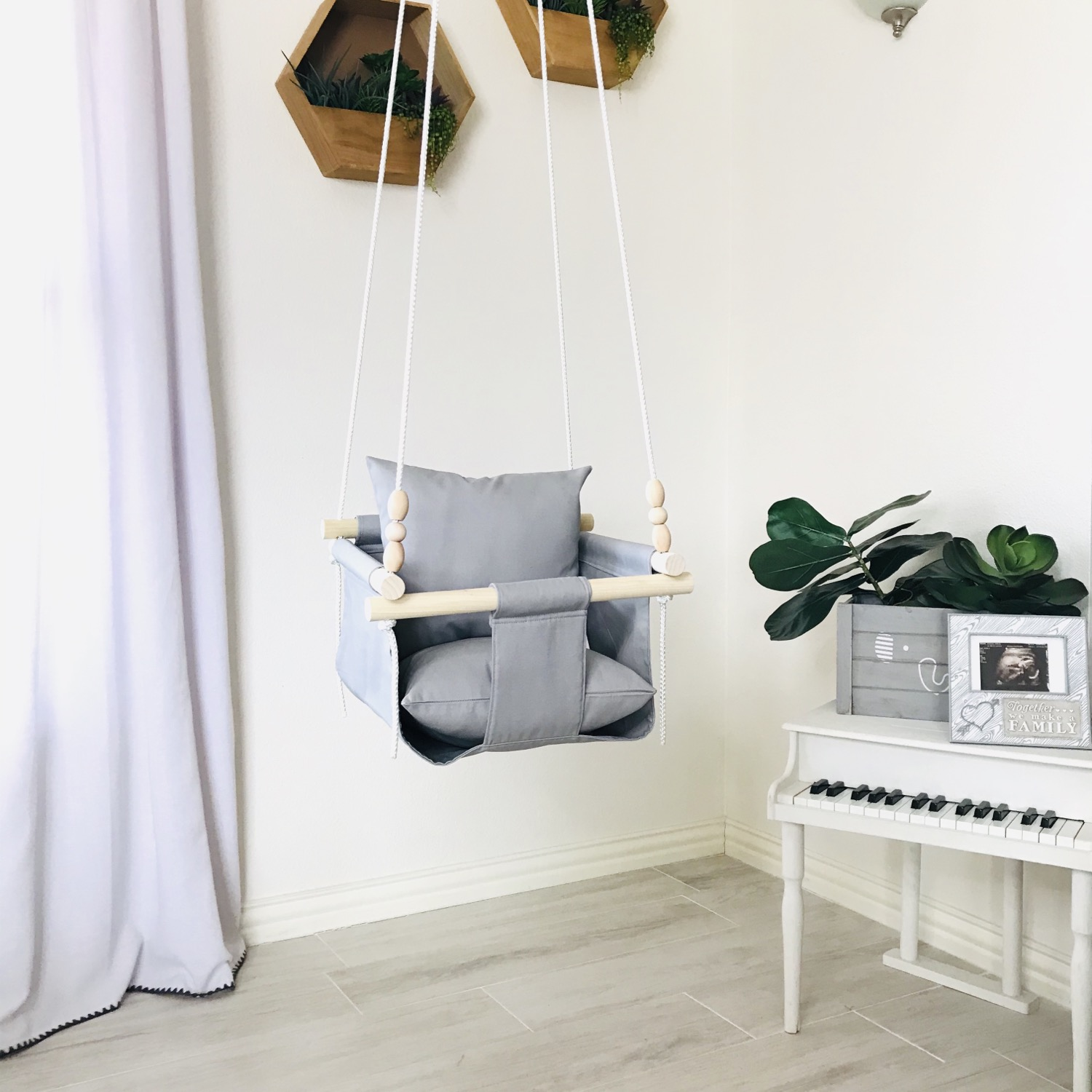 Light Gray Regular Back Baby Swing