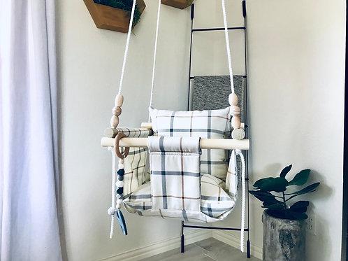 Beige/Gray & Rusty Orange Baby Swing