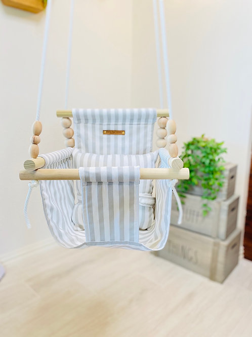 French Gray Linen High back Baby Swing