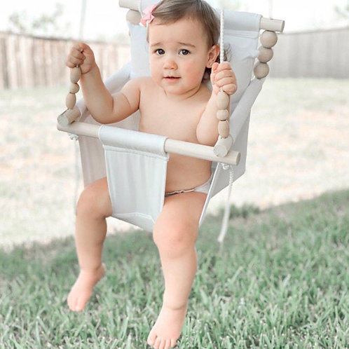 Beige/Cream High Back Baby Swing