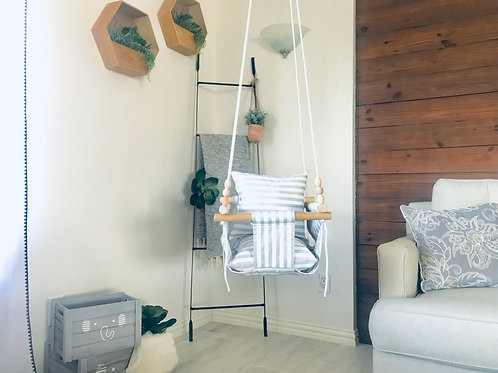 French Gray Linen Regular Back Baby Swing