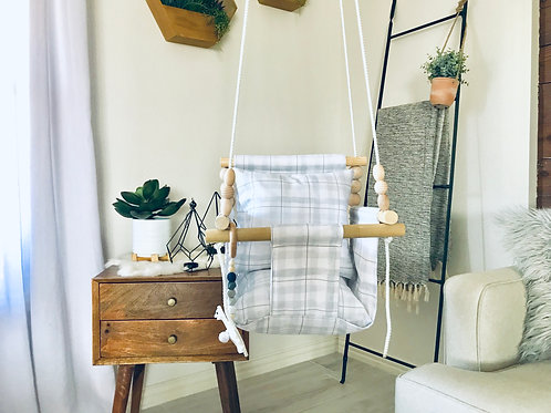 Gray Square High back Baby Swing
