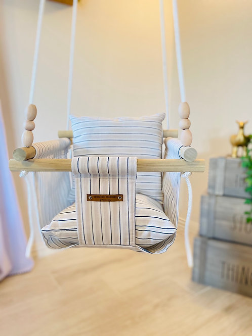 Navy & Gray Striped Regular Back Baby Swing