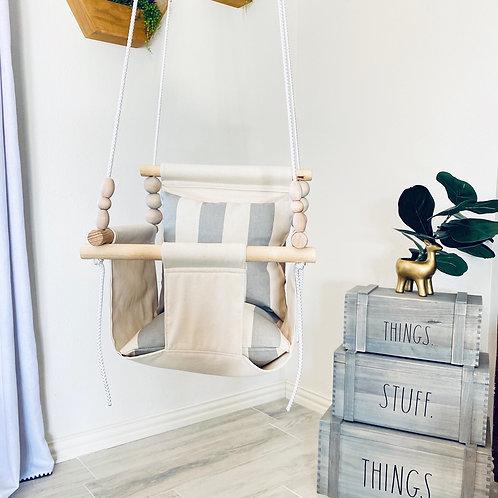 Natural High back Baby Swing w/ Linen Pillows
