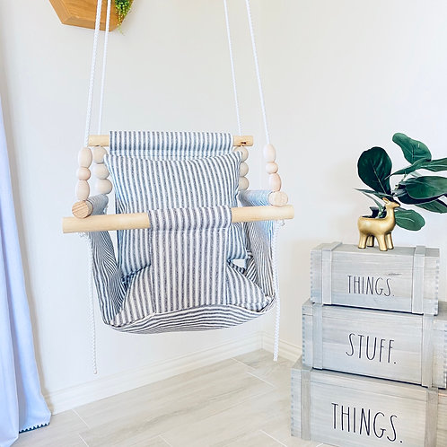 White and Black High back Baby Swing