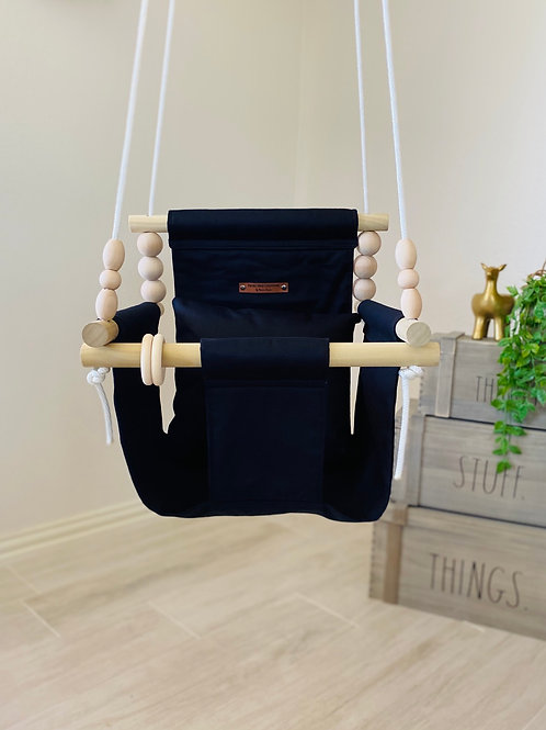 Black High back Baby Swing