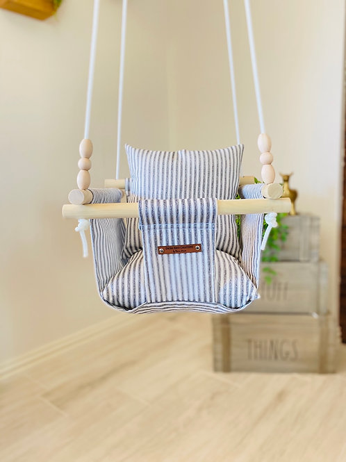 Black and White Striped Baby Swing