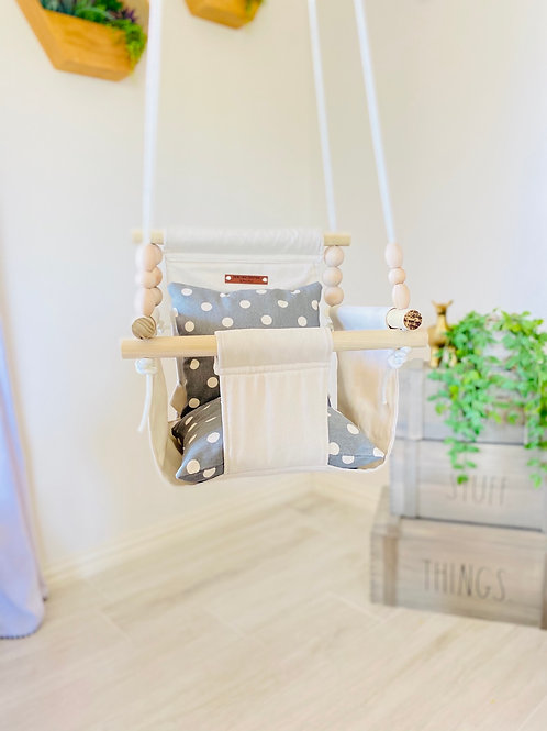 Natural High back Baby Swing w/ Gray Pillows