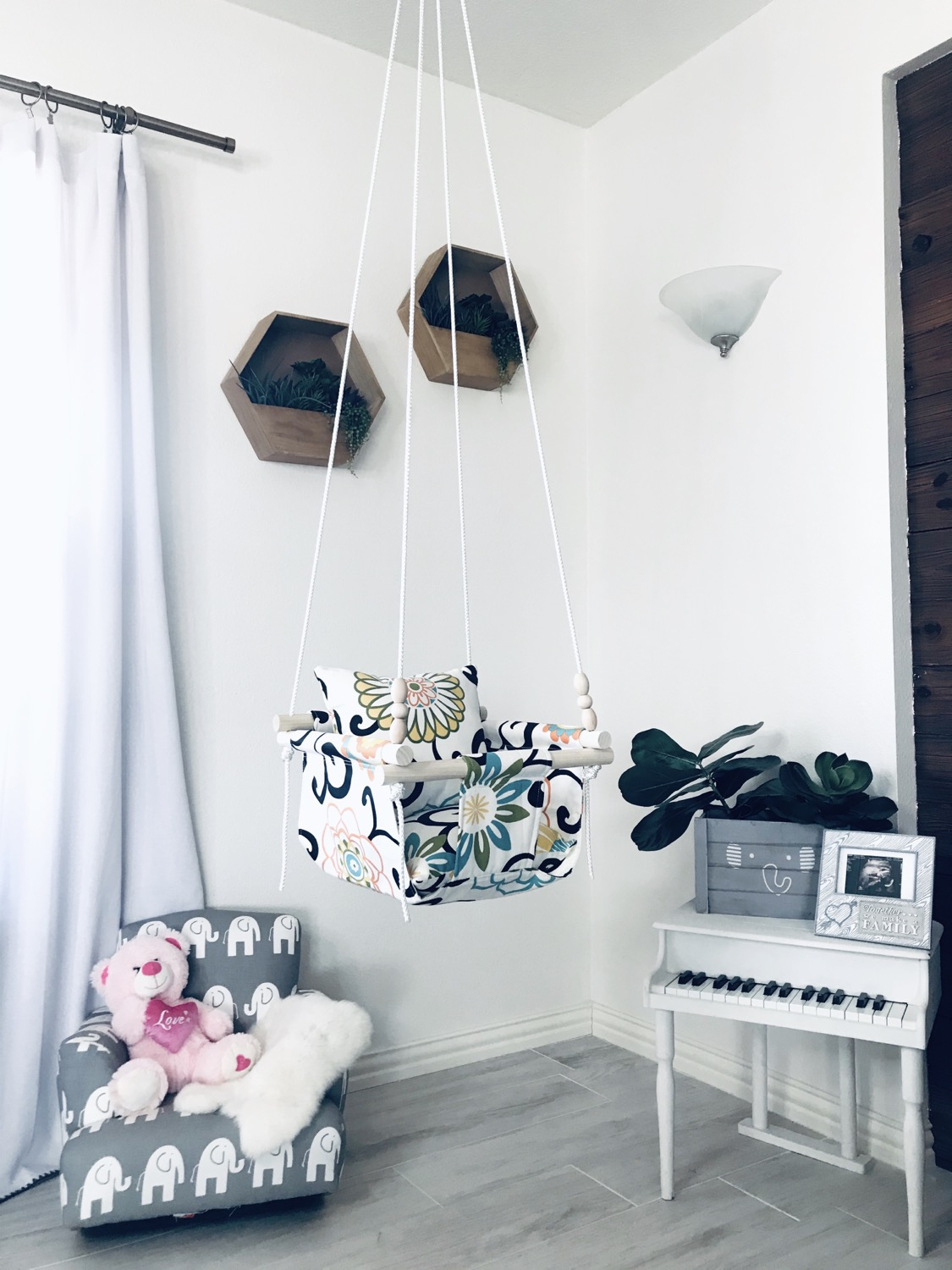 Thumbnail: Floral Fabric Baby/ Toddler Swing