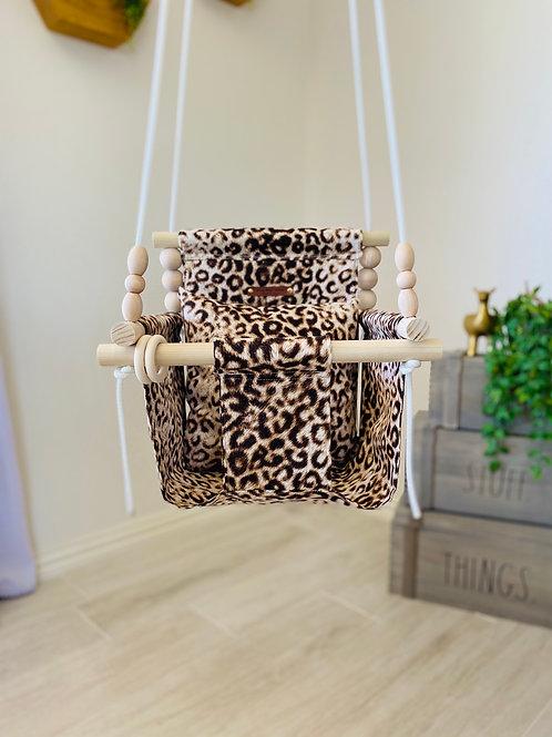 Leopard High Back Baby Swing