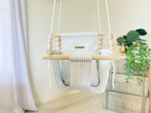 Gray & white Striped High back Baby Swing