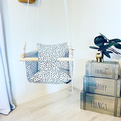 White and Navy Blue Baby Swing
