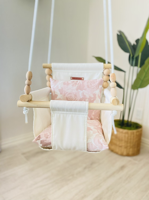 Beige Swing and Blush Roses High Back Baby Swing
