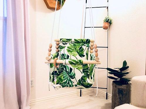 Tropical Fabric Print High back Baby Swing