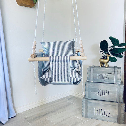 White and Black Striped Baby Swing