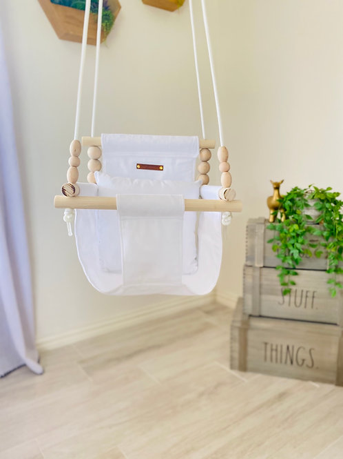 White High Back Baby Swing