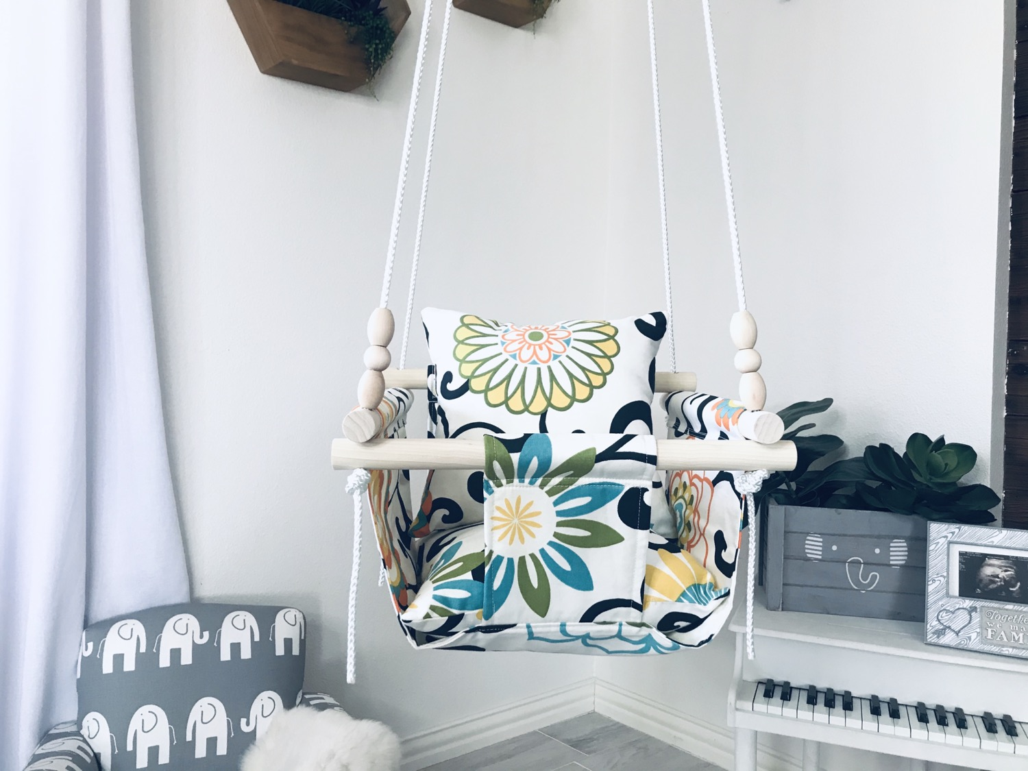 Floral Fabric Baby/ Toddler Swing