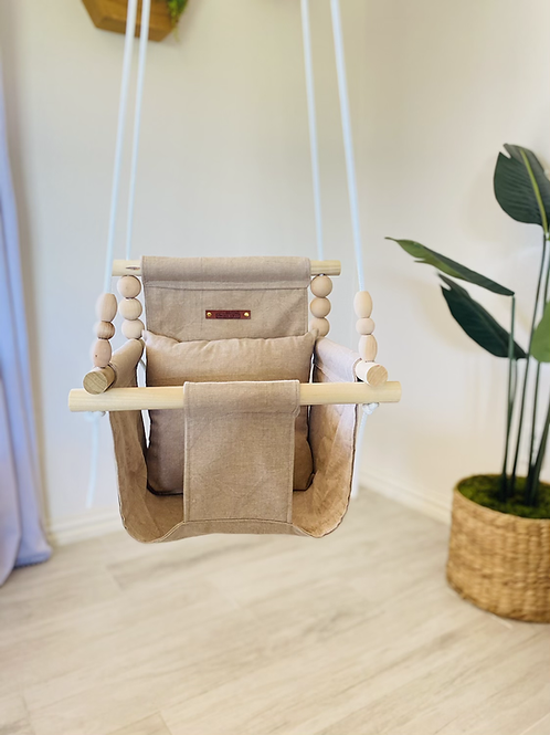 Washed Taupe High Back Baby Swing