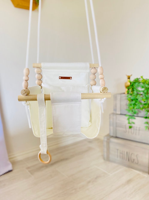 Beige/Cream High Back Baby Swing