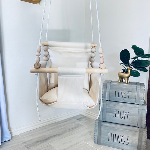 Natural Linen High back Baby Swing