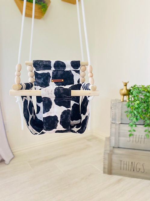 Cow Print Black & White  High Back Baby Swing