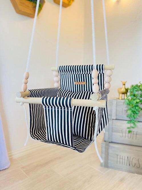 Linen (Natural) & Black High Back Baby Swing