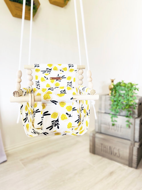 Yellow Flowers High back Baby Swing