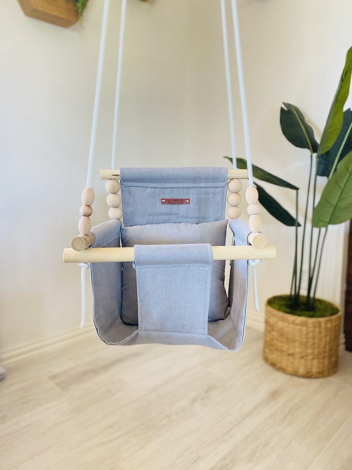 Washed Gray High Back Baby Swing
