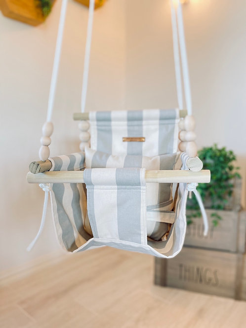 Natural & Gray Linen High back Baby Swing