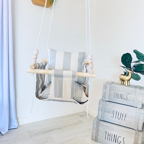 Natural Linen Baby Swing w/ Striped Gray Pillows