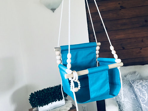 Turquoise High back Baby Swing