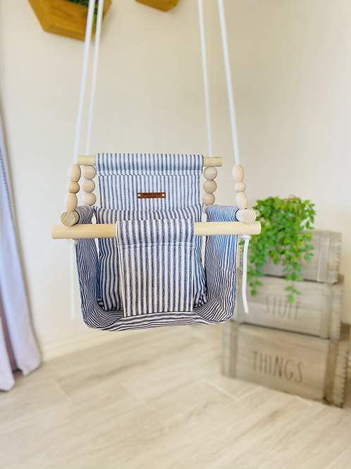 Blue and White Striped High Back Baby Swing