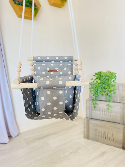 Gray & Natural High back Baby Swing