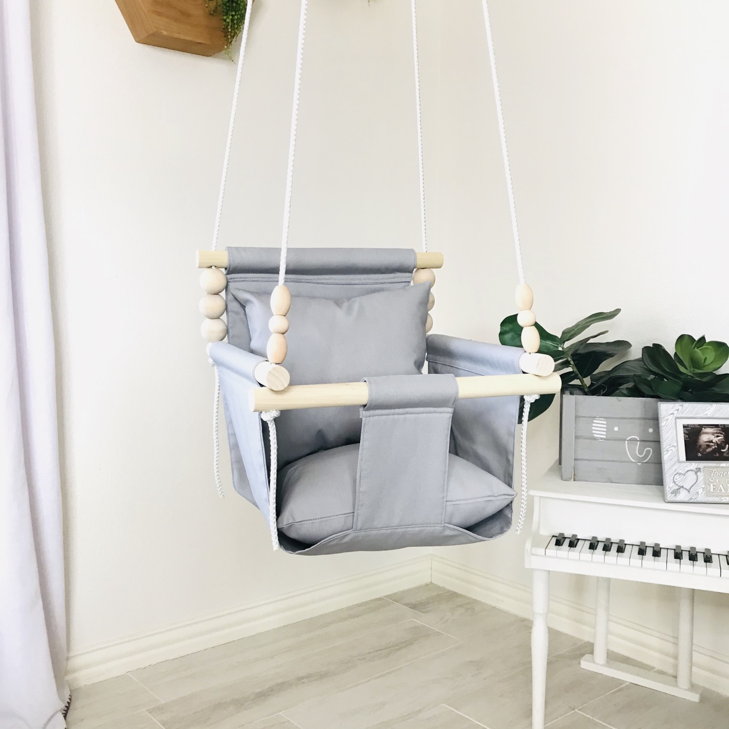 Light Gray High back Baby Swing