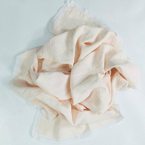 White Fringe Swaddle/Muslin Baby Swaddle