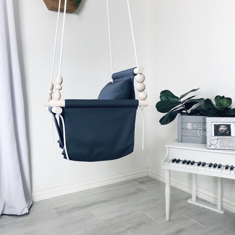 Thumbnail: Charcoal Gray High back Baby Swing