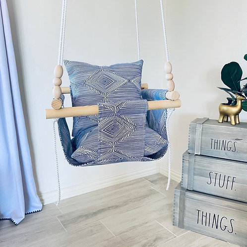 Baby/ Toddler Swing  White & Navy Blue Tribal Pattern