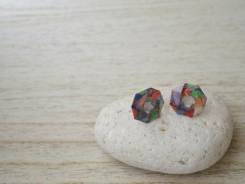 Origami Camellia Stud Earrings 折り紙の椿のスタッドピアス