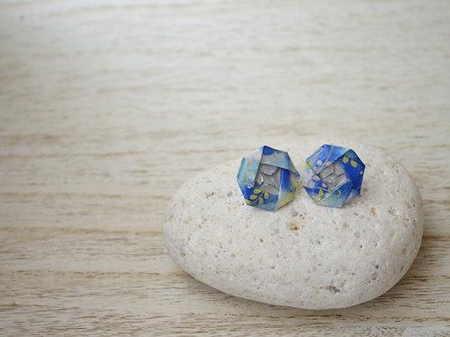 Blue Origami Camellia Stud Earrings 青の折り紙の椿のスタッドピアス